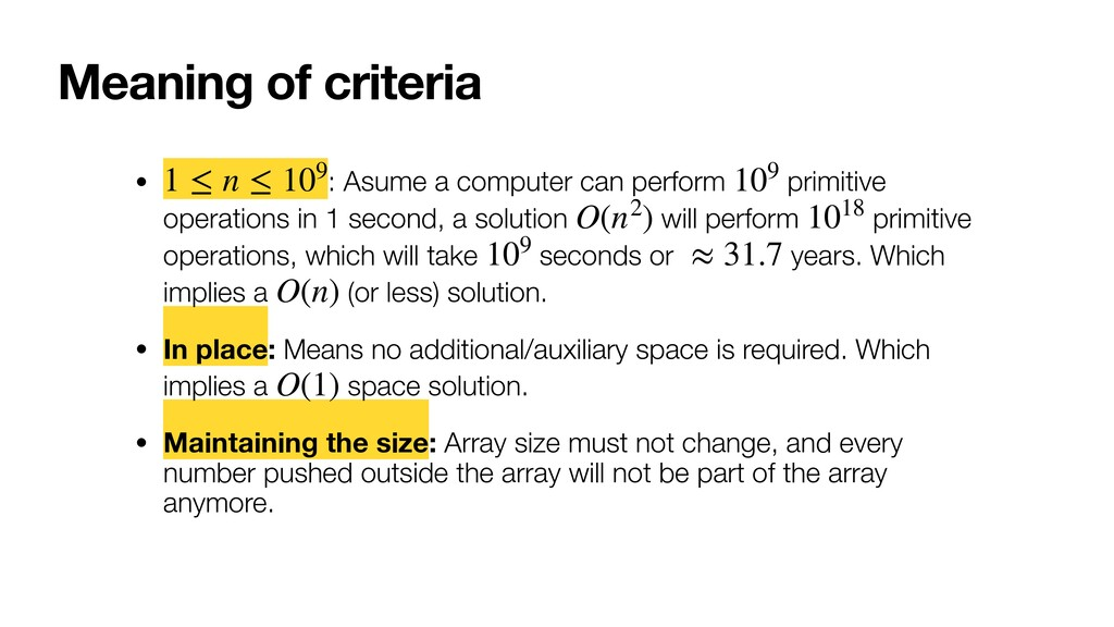 Meaning of criteria • : Asume a computer can pe...