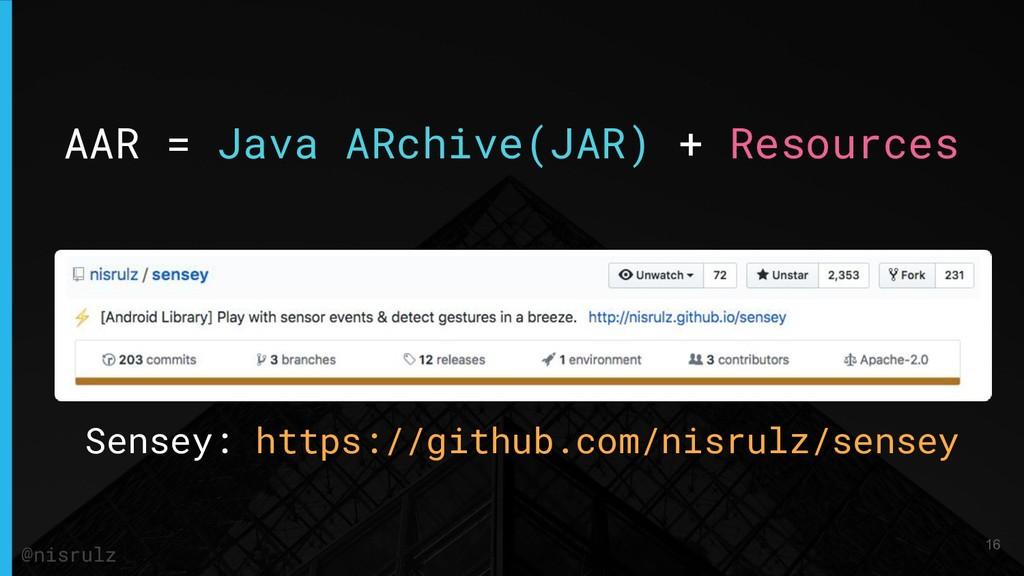 AAR = Java ARchive(JAR) + Resources Sensey: htt...