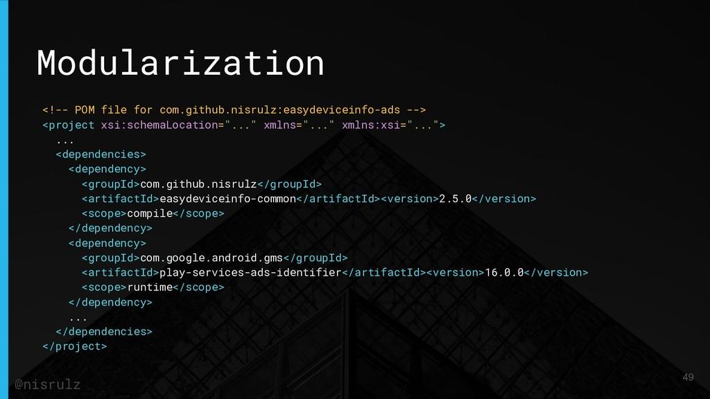 Modularization <!-- POM file for com.github.nis...