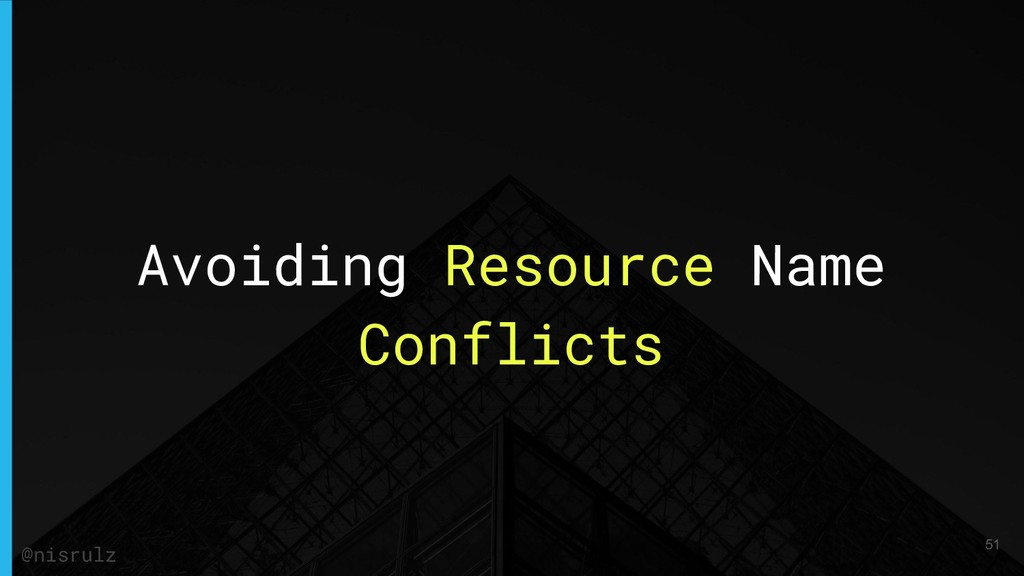 Avoiding Resource Name Conflicts 51 @nisrulz