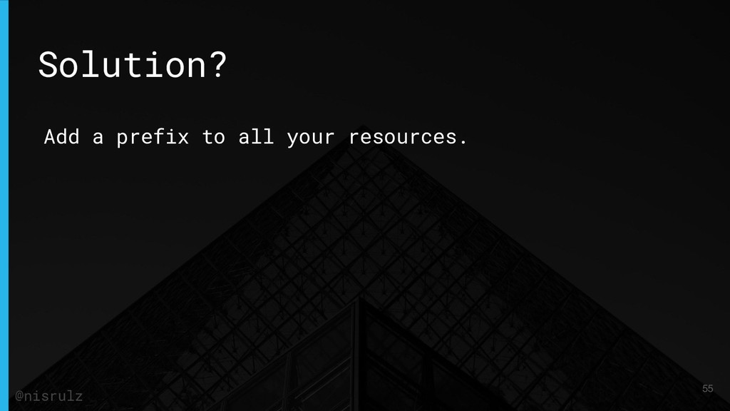 Add a prefix to all your resources. Solution? 5...