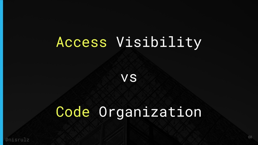 Access Visibility vs Code Organization 68 @nisr...