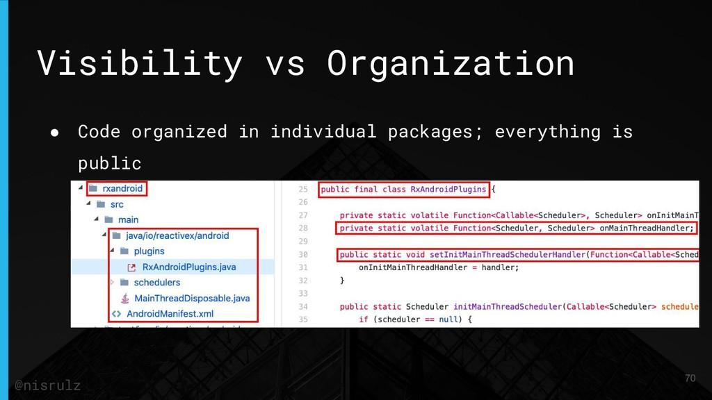 Visibility vs Organization ● Code organized in ...