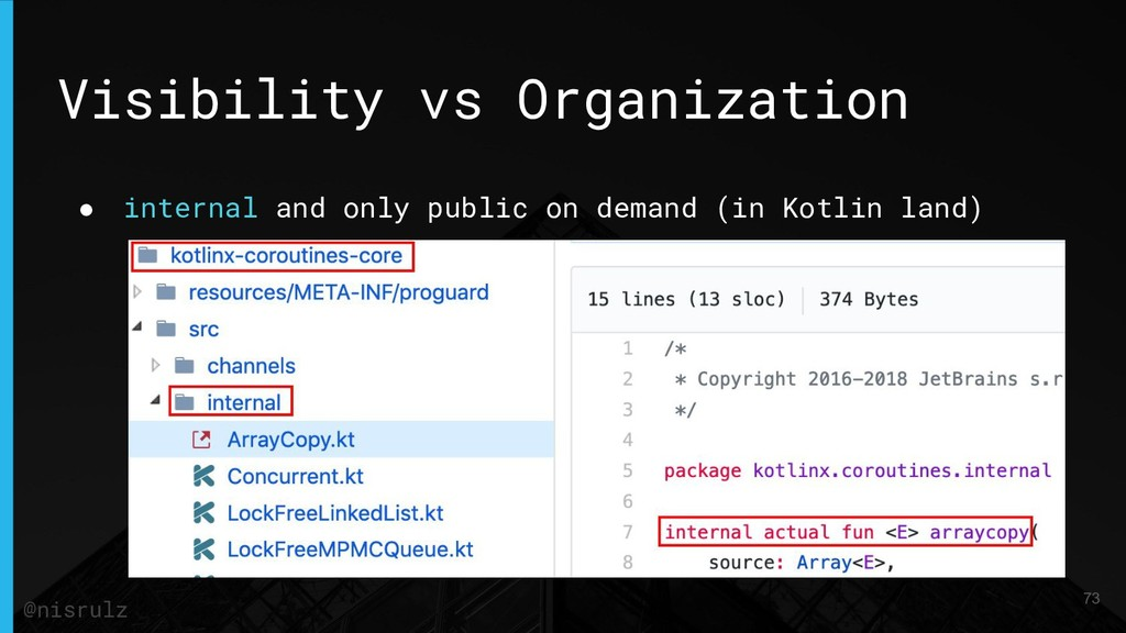 Visibility vs Organization ● internal and only ...