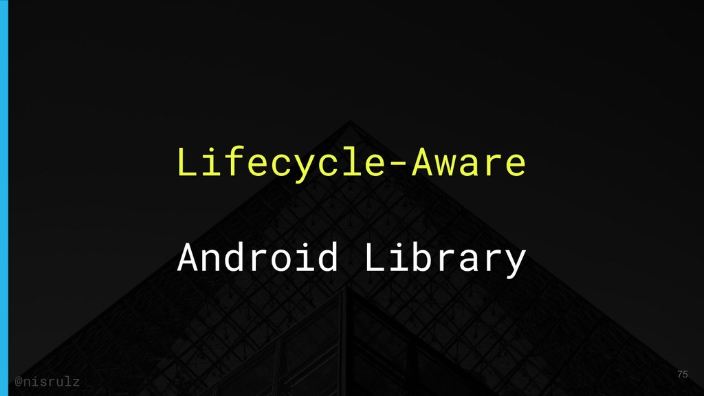 Lifecycle-Aware Android Library 75 @nisrulz