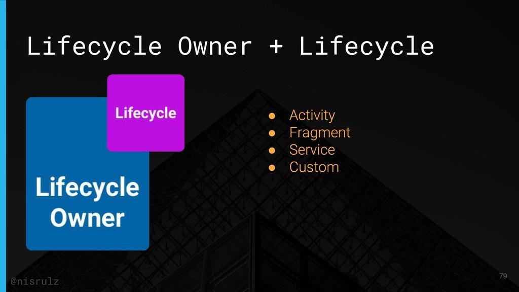 Lifecycle Owner + Lifecycle ● ● ● ● 79 @nisrulz