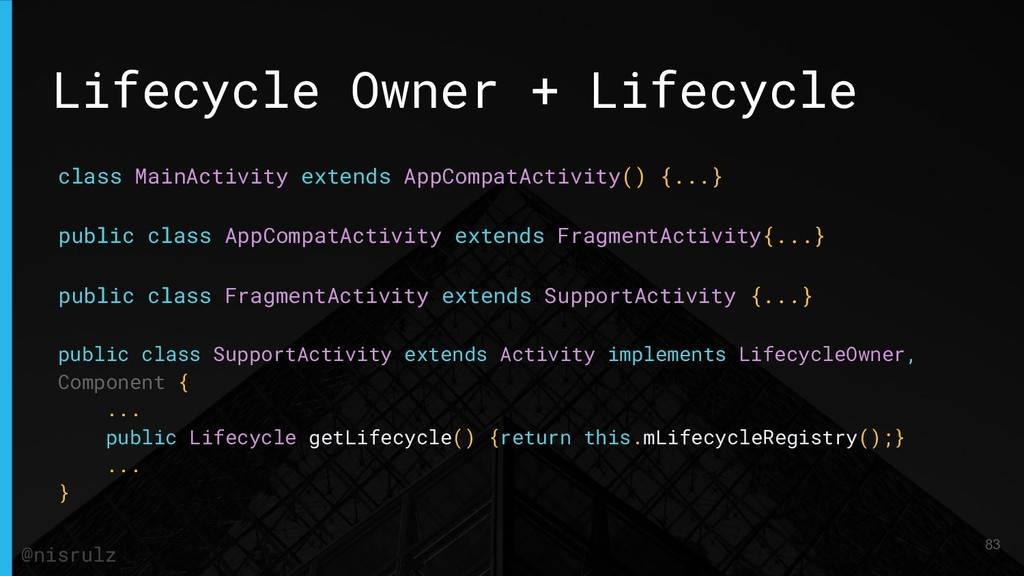 Lifecycle Owner + Lifecycle class MainActivity ...