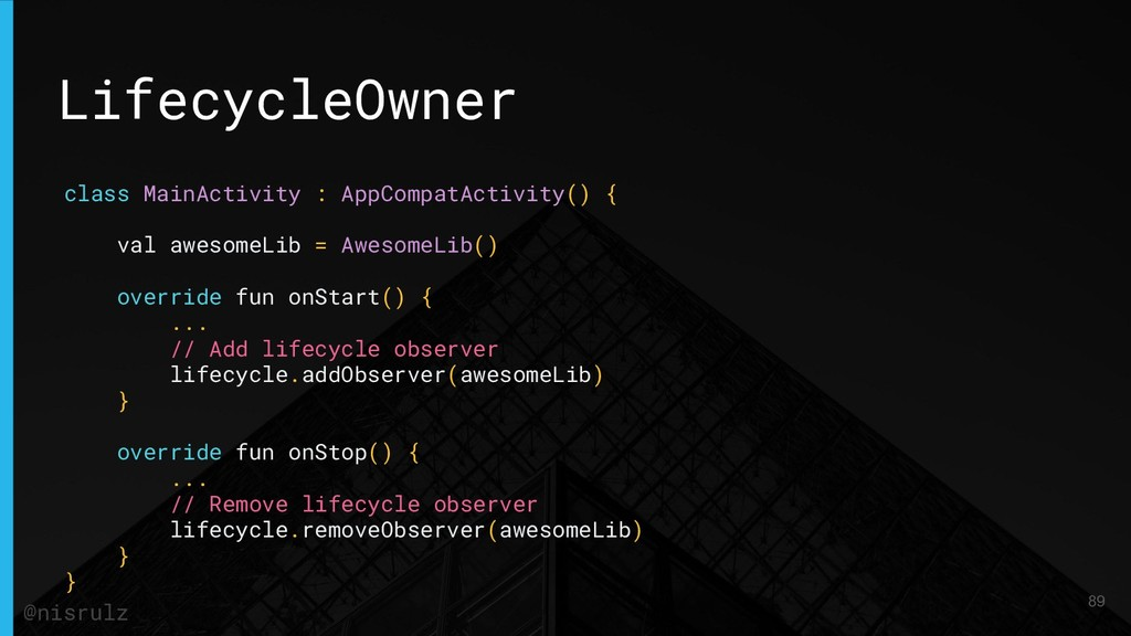 LifecycleOwner class MainActivity : AppCompatAc...