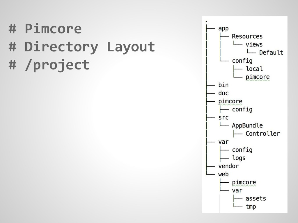 # Pimcore # Directory Layout # /project