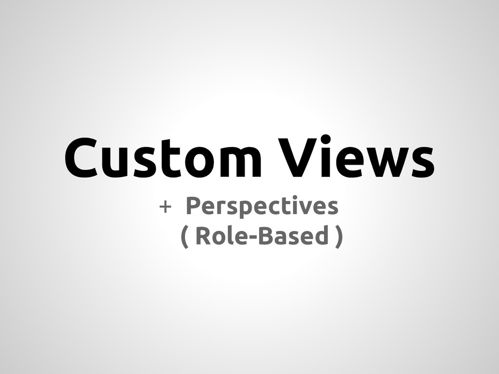 Custom Views + Perspectives ( Role-Based )
