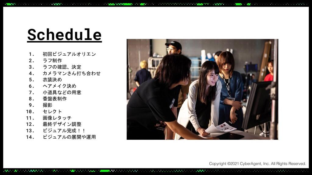 Schedule 1. 初回ビジュアルオリエン 2. ラフ制作 3. ラフの確認、決定 4. ...