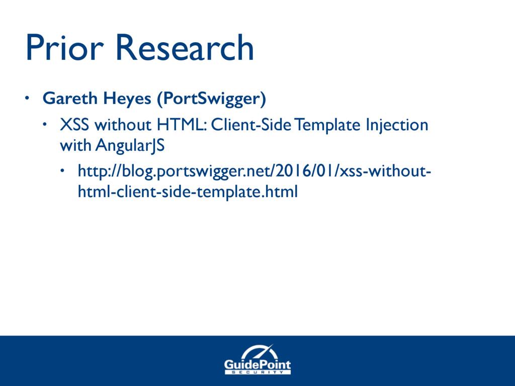 • Gareth Heyes (PortSwigger) • XSS without HTML...