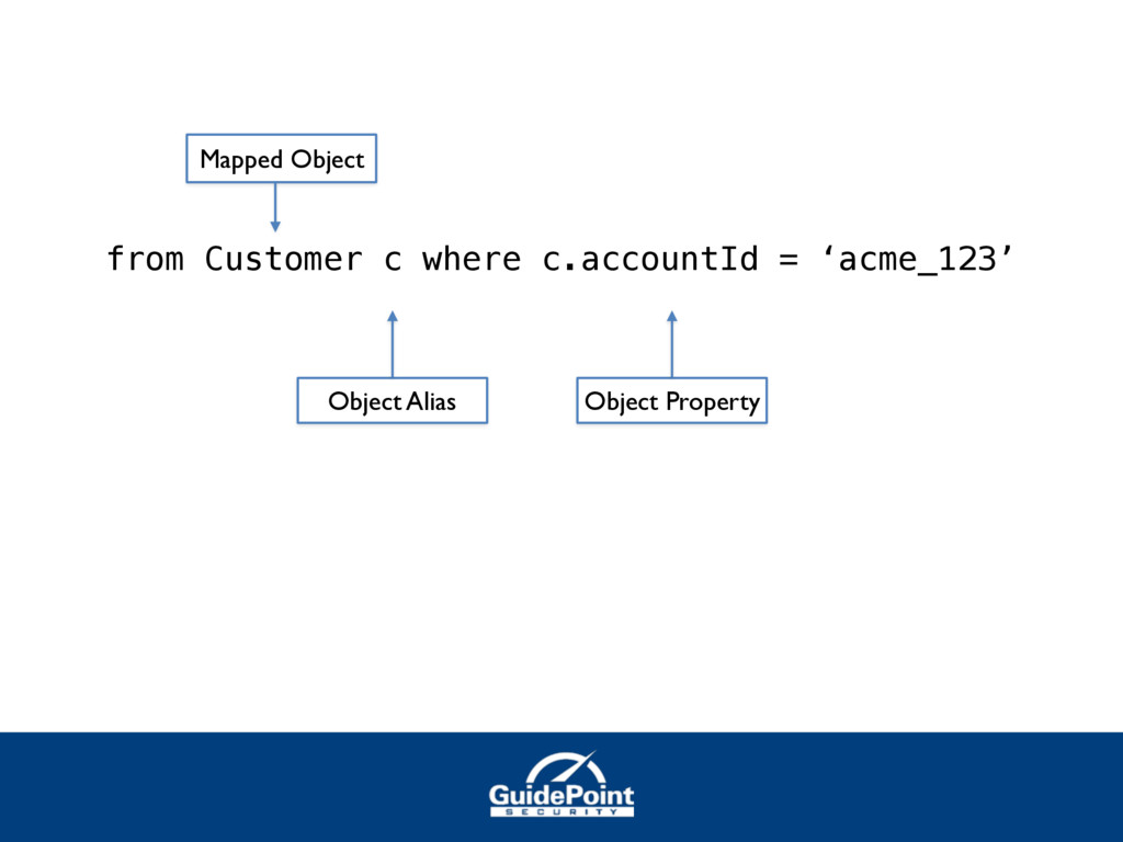 from Customer c where c.accountId = 'acme_123' ...