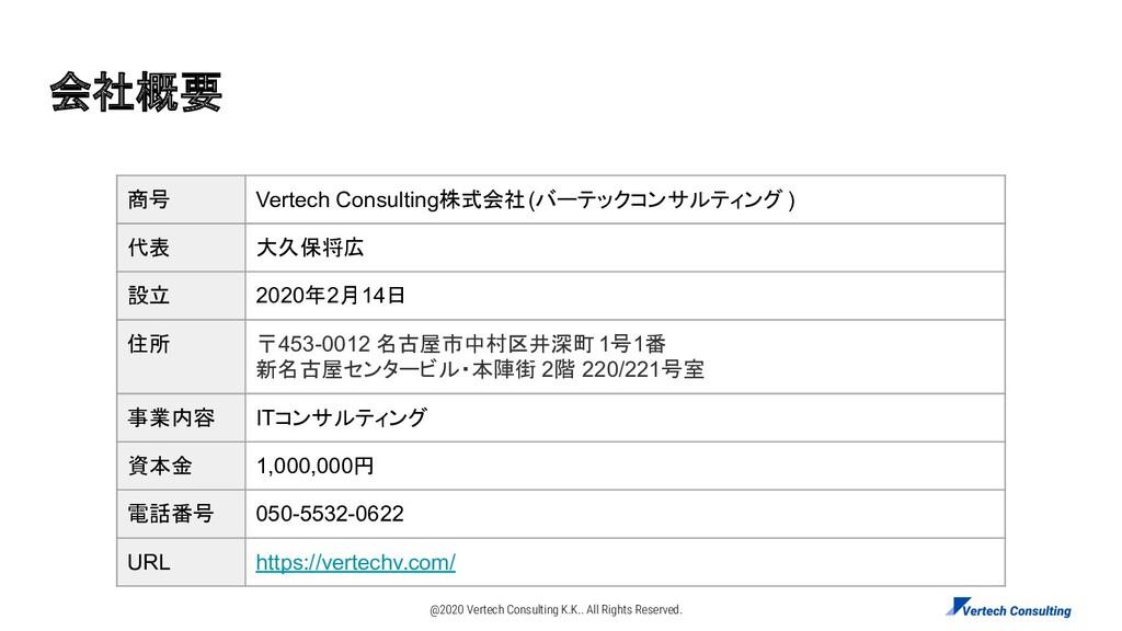 会社概要 商号 Vertech Consulting株式会社(バーテックコンサルティング ) ...