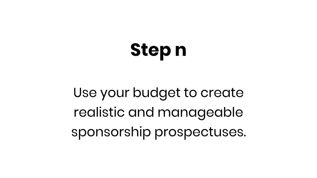 Step n Use your budget to create realistic and ...