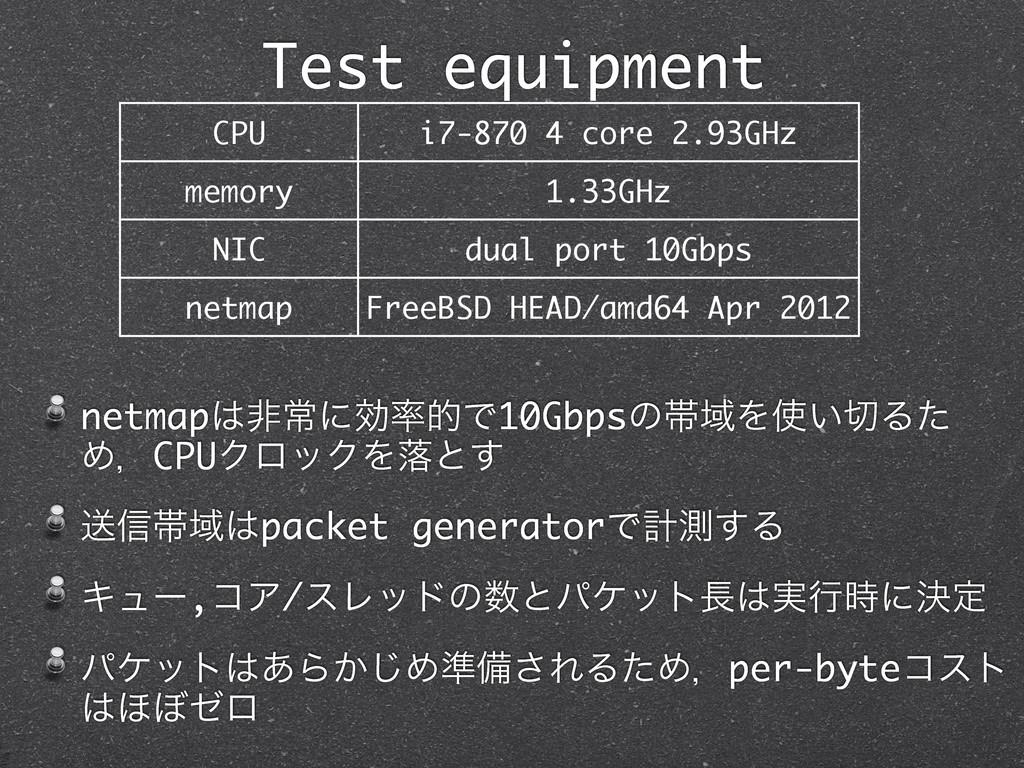 Test equipment netmapඇৗʹޮతͰ10GbpsͷଳҬΛ͍Δͨ Ίɼ...