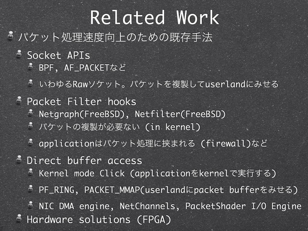 Related Work ύέοτॲཧ্ͷͨΊͷطଘख๏ Socket APIs BPF...