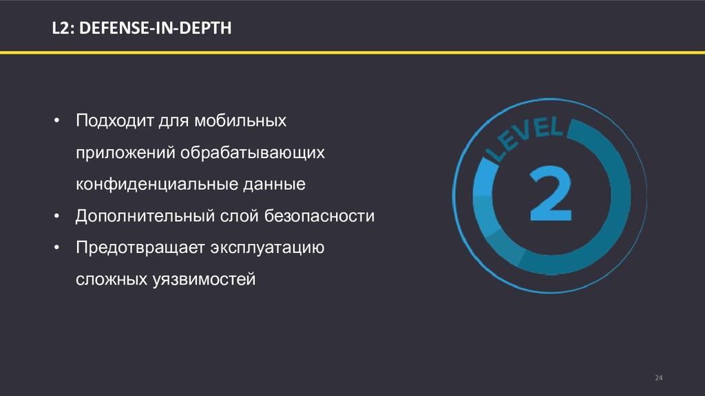 24 L2: DEFENSE-IN-DEPTH • Подходит для мобильны...
