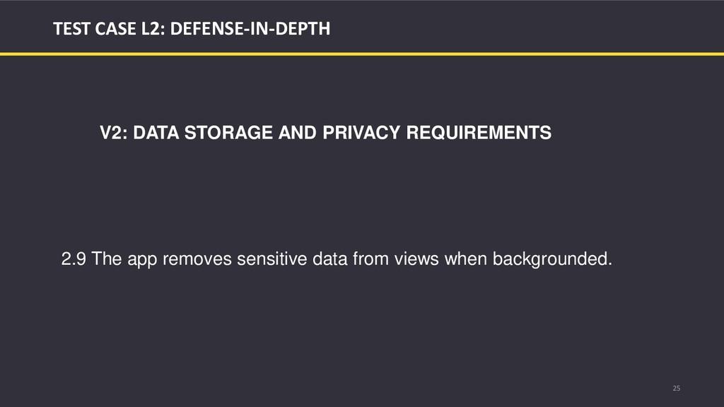 25 TEST CASE L2: DEFENSE-IN-DEPTH V2: DATA STOR...