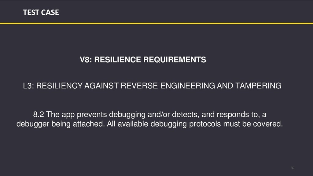 30 TEST CASE V8: RESILIENCE REQUIREMENTS L3: RE...