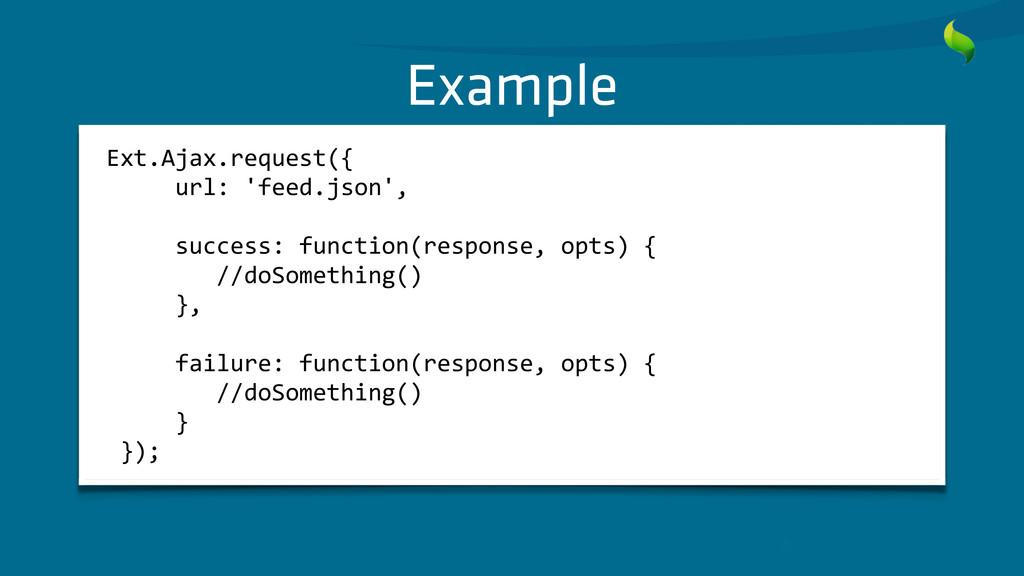 Example Ext.Ajax.request({      ...