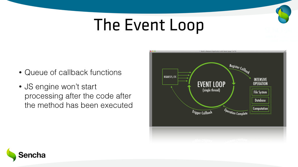 The Event Loop • Queue of callback functions • ...
