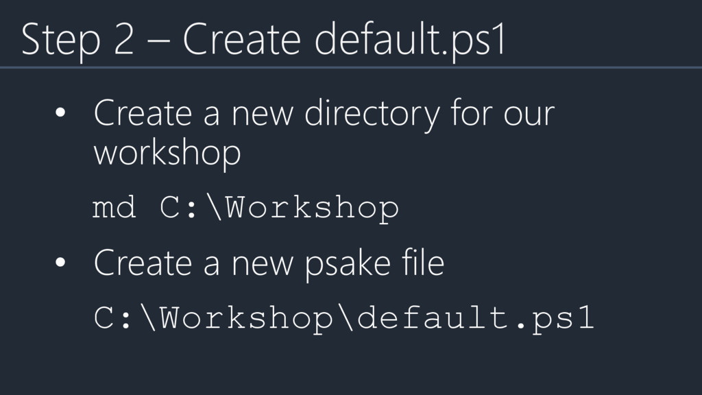 • Create a new directory for our workshop md C:...