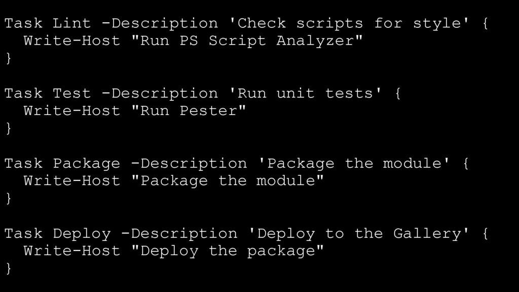 Task Lint -Description 'Check scripts for style...