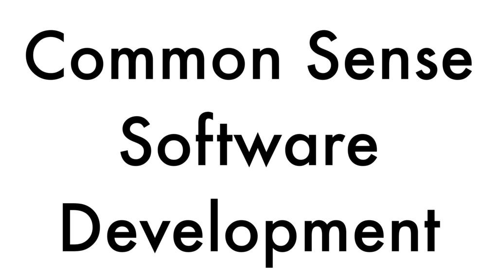 Common Sense Software Development