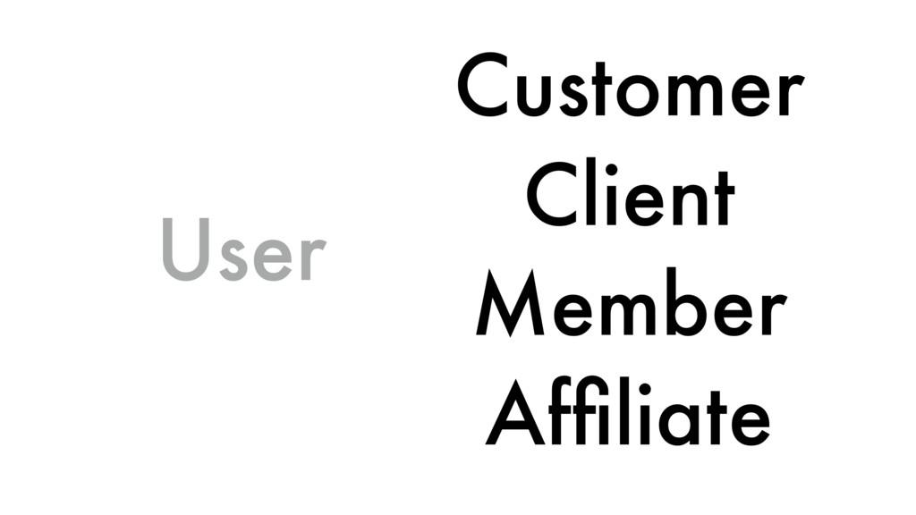 User Customer Client Member Affiliate