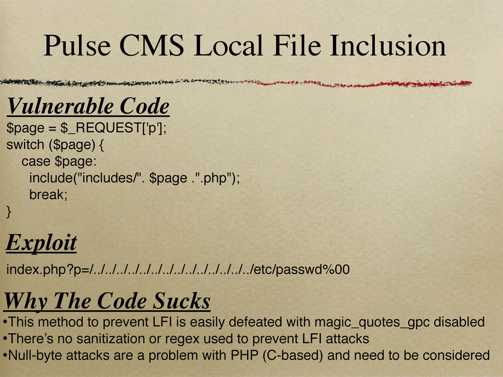 Pulse CMS Local File Inclusion Vulnerable Code ...