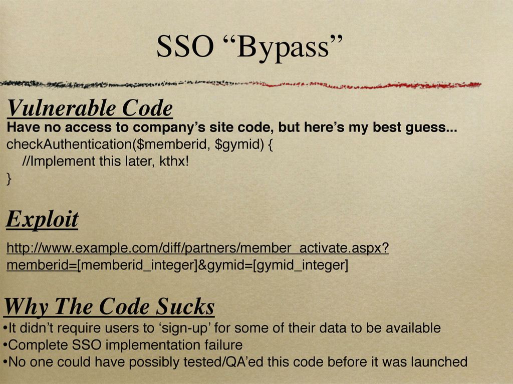 "SSO ""Bypass"" Vulnerable Code http://www.example..."