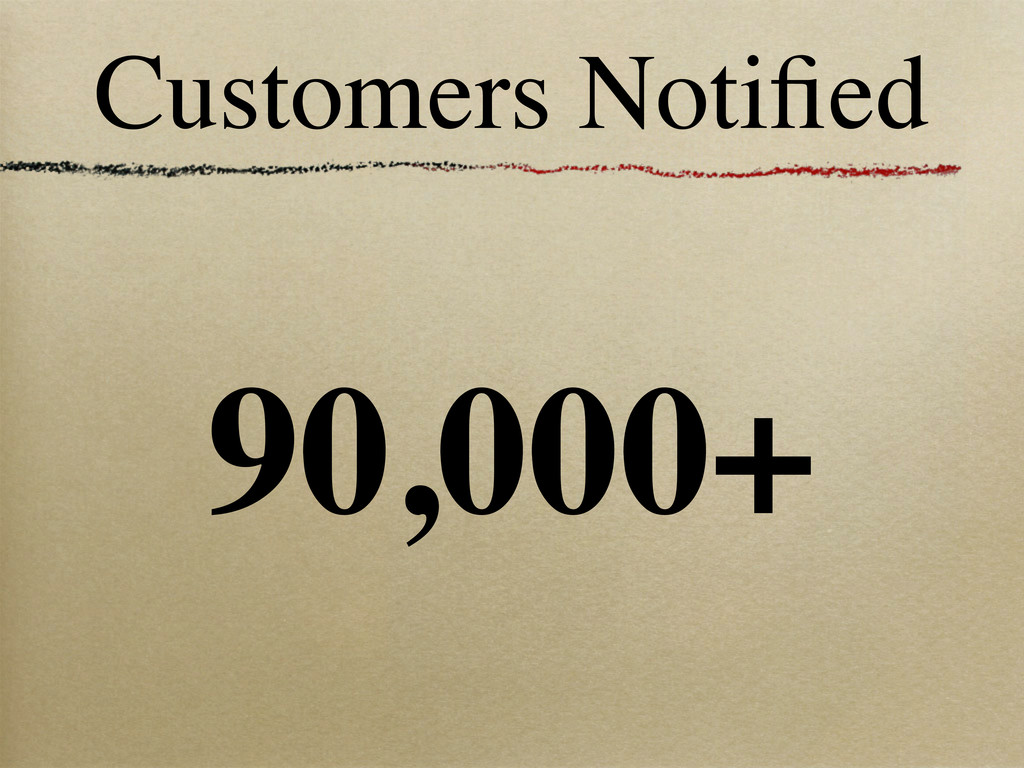 Customers Notified 90,000+