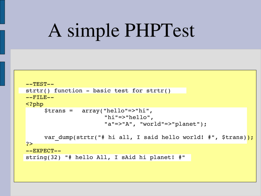 A simple PHPTest TEST strtr() function  ba...