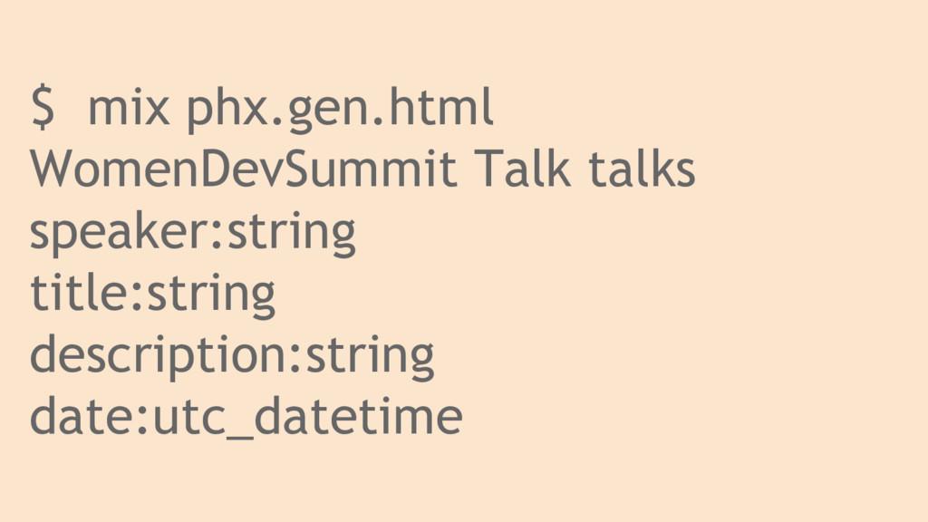 $ mix phx.gen.html WomenDevSummit Talk talks sp...