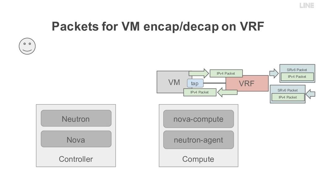 Packets for VM encap/decap on VRF Controller Ne...