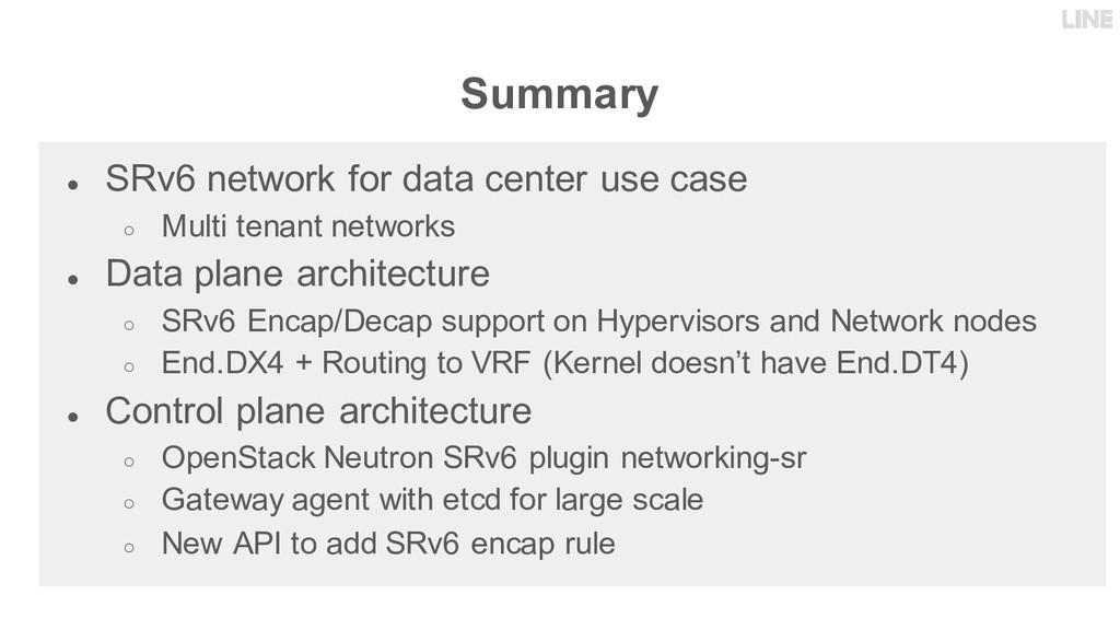 Summary ● SRv6 network for data center use case...