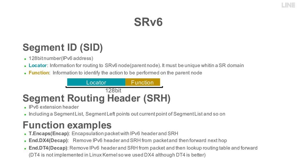 SRv6 Segment ID (SID) ● 128bit number(IPv6 addr...