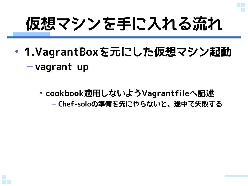 仮想マシンを手に入れる流れ • 1.VagrantBoxを元にした仮想マシン起動 – vagr...