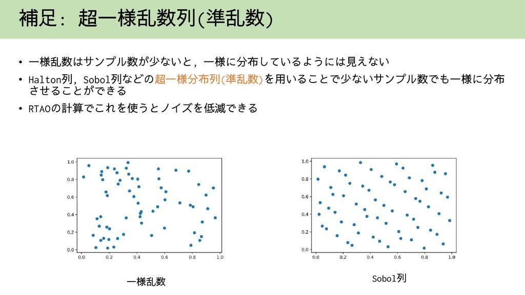 補足: 超一様乱数列(準乱数) • 一様乱数はサンプル数が少ないと, 一様に分布しているように...