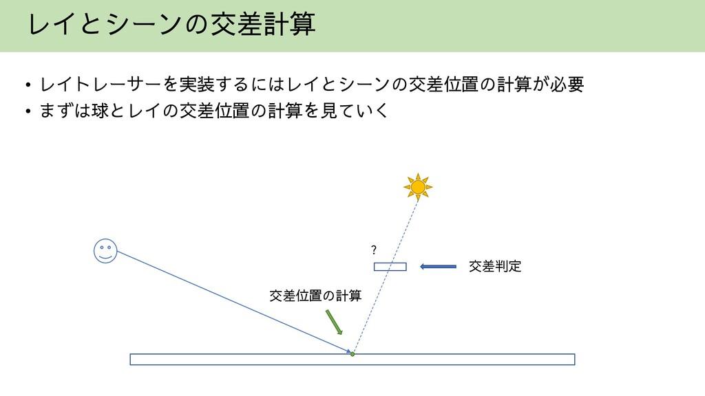 レイとシーンの交差計算 • レイトレーサーを実装するにはレイとシーンの交差位置の計算が必要 •...