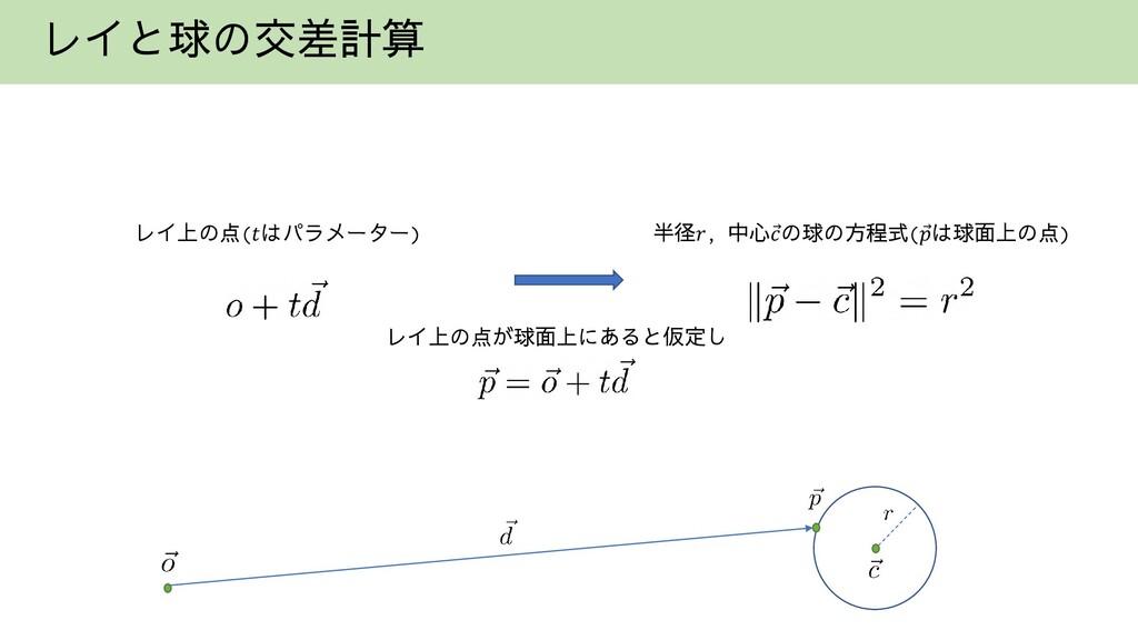 レイと球の交差計算 レイ上の点(𝑡はパラメーター) 半径𝑟, 中心Ԧ 𝑐の球の方程式( Ԧ 𝑝...