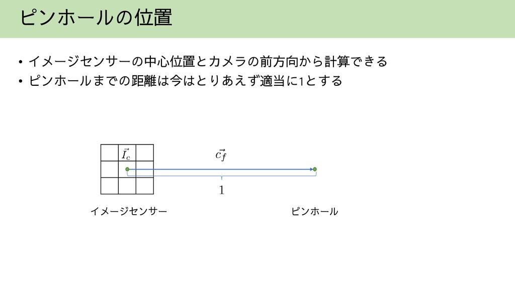 ピンホールの位置 • イメージセンサーの中心位置とカメラの前方向から計算できる • ピンホール...