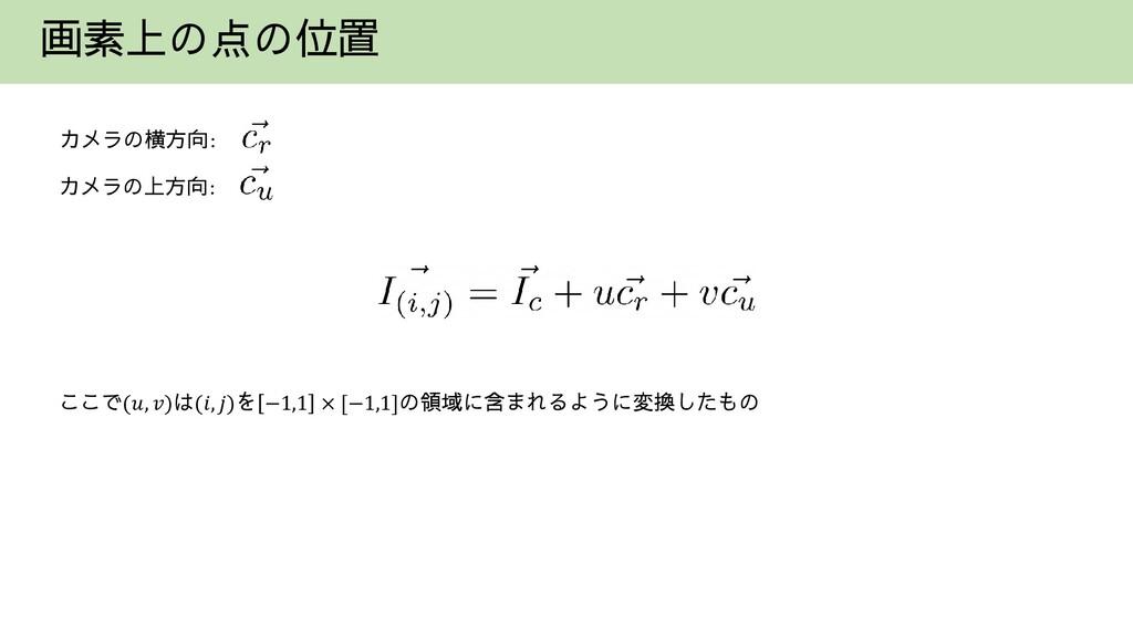 画素上の点の位置 カメラの横方向: カメラの上方向: ここで(𝑢, 𝑣)は(𝑖, 𝑗)を −1...