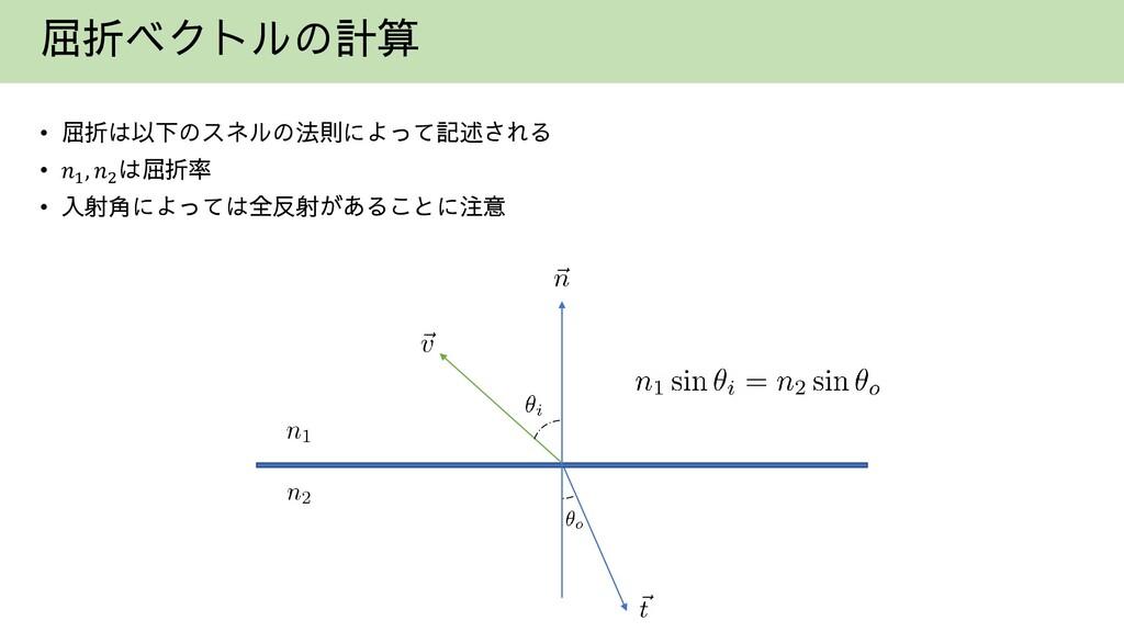 屈折ベクトルの計算 • 屈折は以下のスネルの法則によって記述される • 𝑛1 , 𝑛2 は屈折...