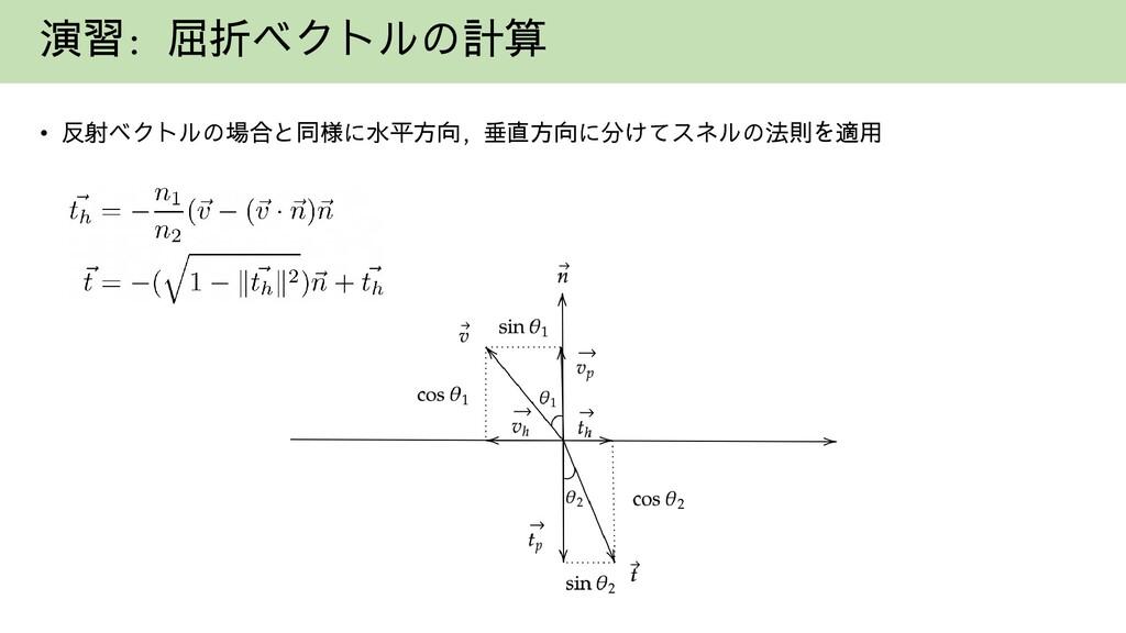 演習: 屈折ベクトルの計算 • 反射ベクトルの場合と同様に水平方向, 垂直方向に分けてスネルの...