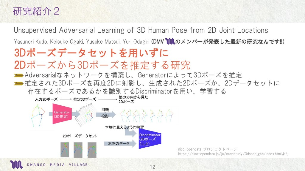 12 研究紹介2 Unsupervised Adversarial Learning of 3...