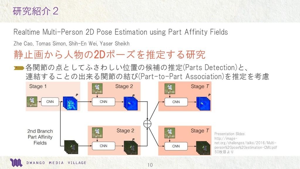10 研究紹介2 Realtime Multi-Person 2D Pose Estimati...