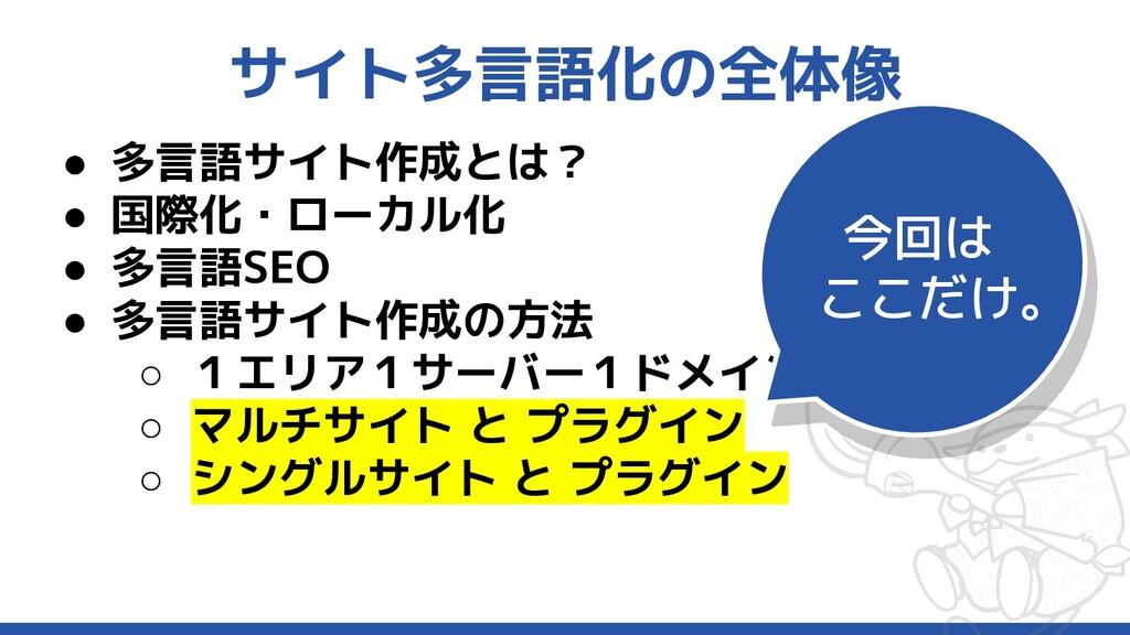 サイト多言語化の全体像 ● 多言語サイト作成とは? ● 国際化・ローカル化 ● 多言語SEO ...